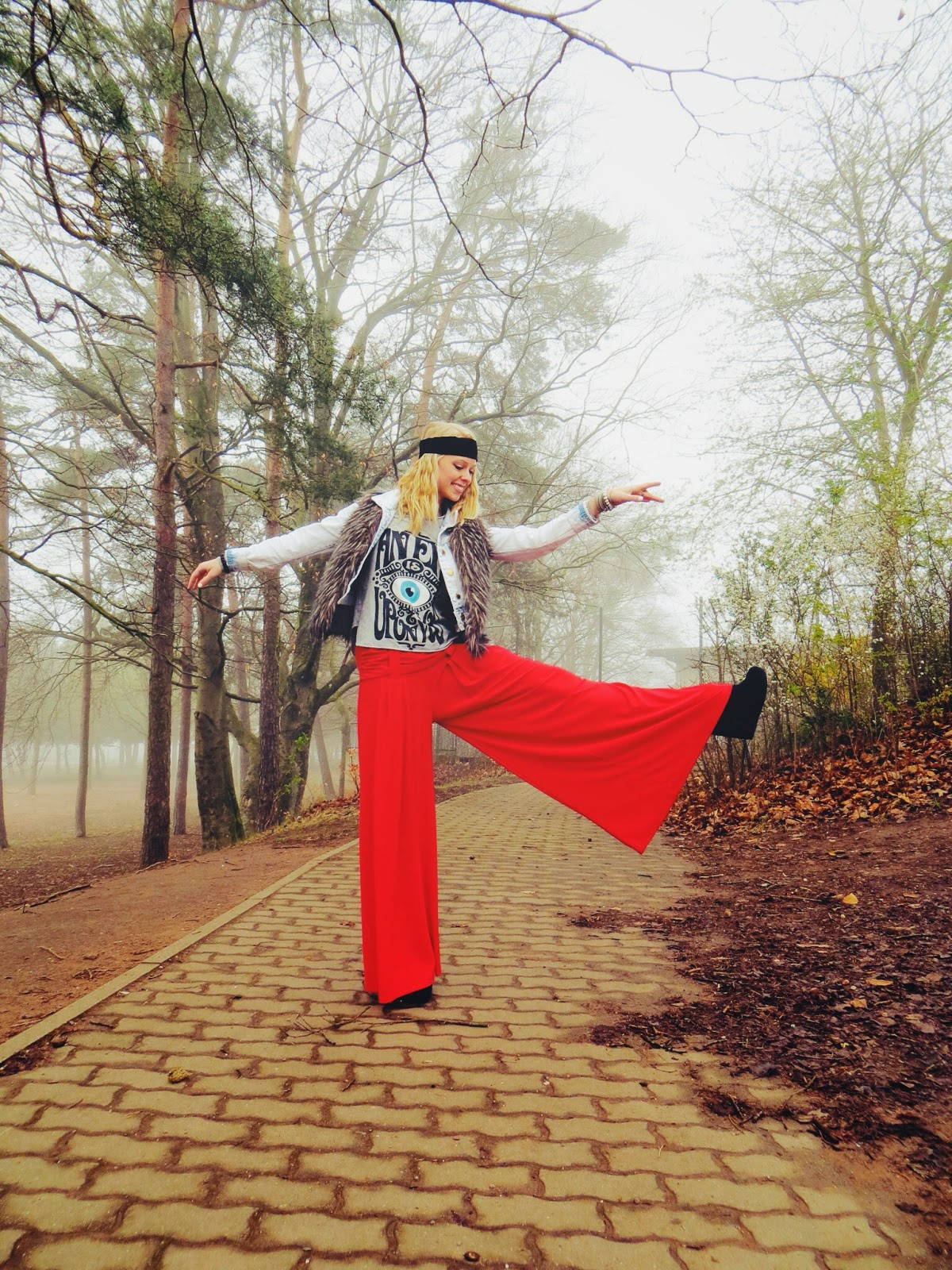 red palazzo pants, faux fur vest, denim jacket, headband, arm party, Emerson & Oliver Dia bracelets, JollyChic belly dance pants, LibraStyle Tees eye shirt, graphic tee, Charlotte Russe denim jacket, Deb shops wedge booties, style blogger, bohemian style, bohemian outfit, boho, hippie