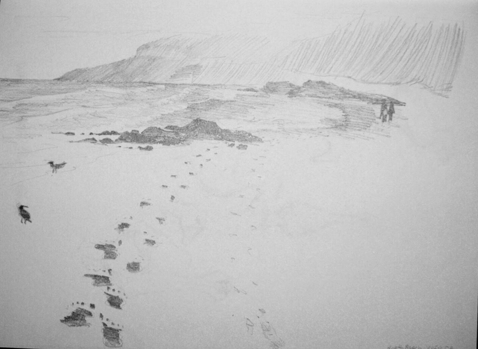 Pencil sketch lonely beach
