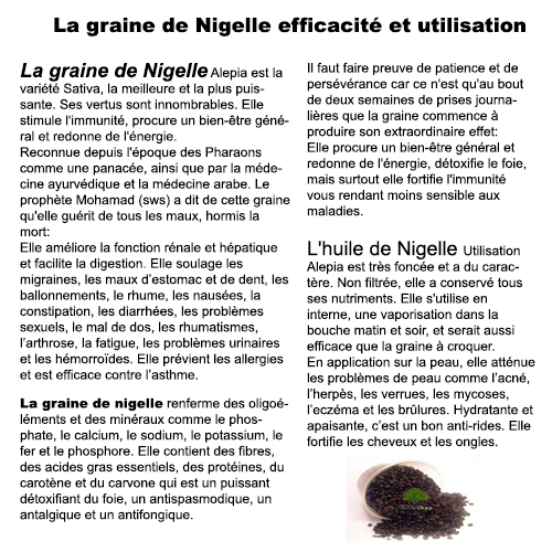 la graine de nigelle la graine de nigelle efficacit et utilisation. Black Bedroom Furniture Sets. Home Design Ideas