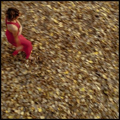 Portret tancerki w czerwonej sukni, kroczącej po dywanie z liści. fot. Łukasz Cyrus, Ruda Śląska.