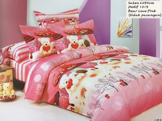 Sprei Anak Motif Bear Love Pink