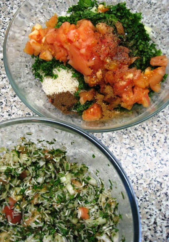 Two bowls with filling ingredients, one mixed, one not mixed