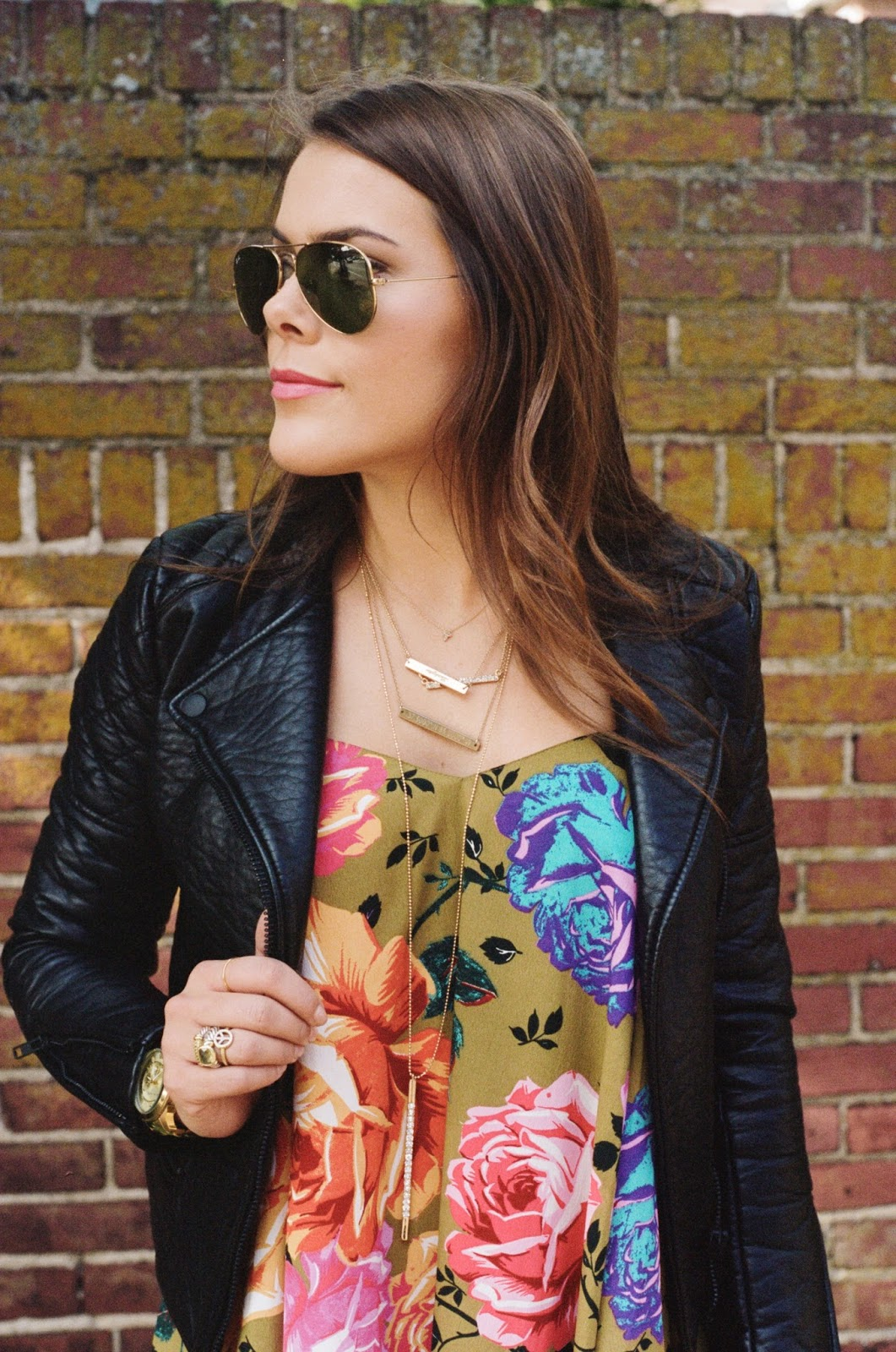 Floral Dress, Leather Jacket, Booties