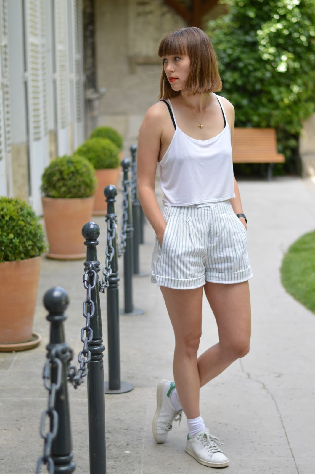 Topshop white crop top, tailored green and white stripy shorts and Adidas Stan Smiths