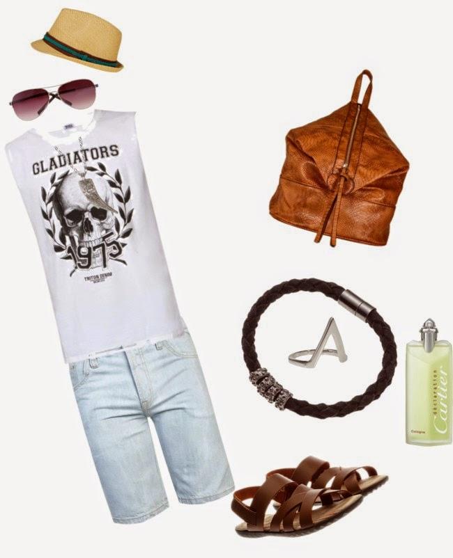 moda masculina, regatas + bermurdas