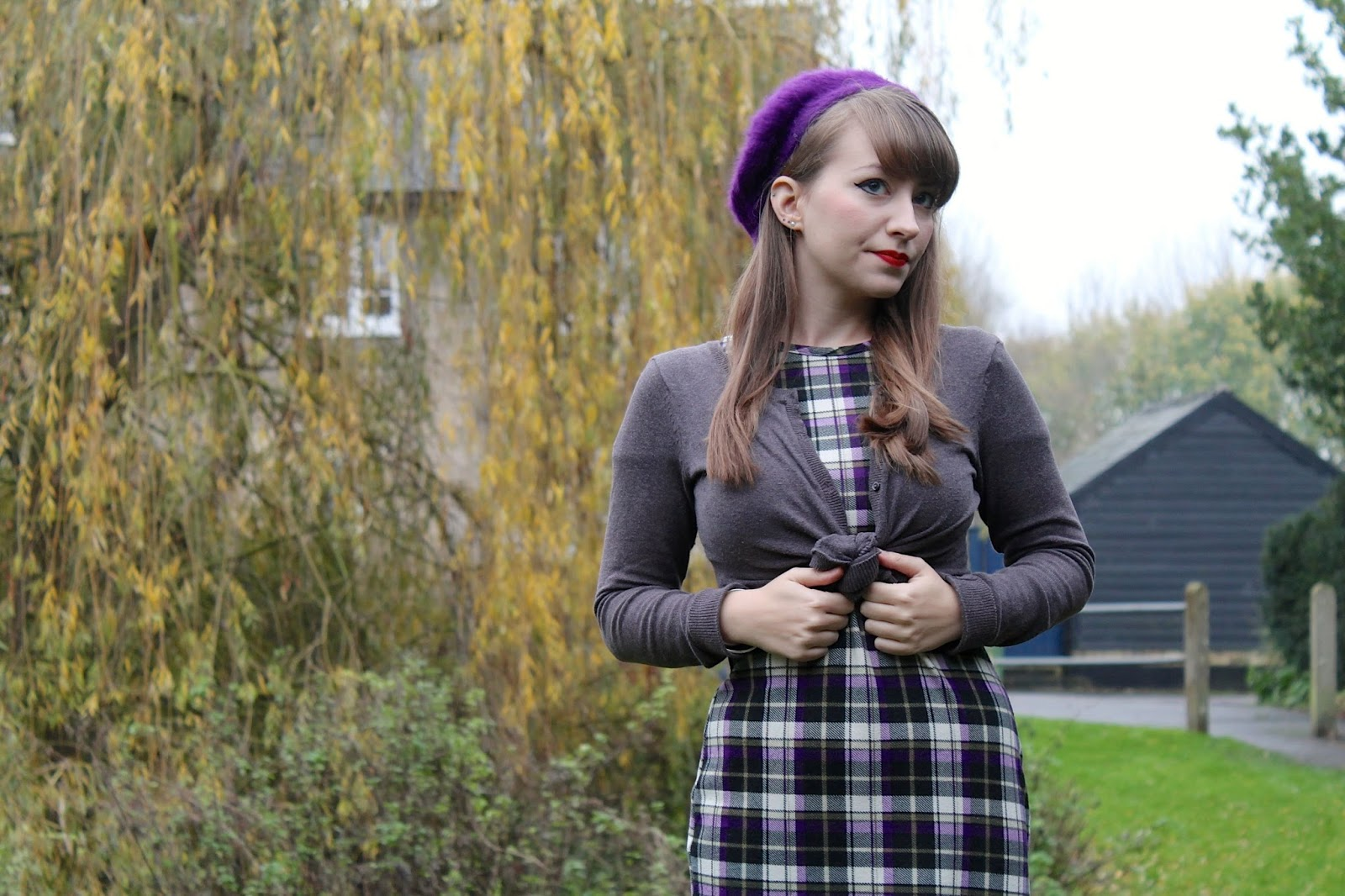 50s inspired winter outfit - plaid dress, cropped cardigan and fluffy beret