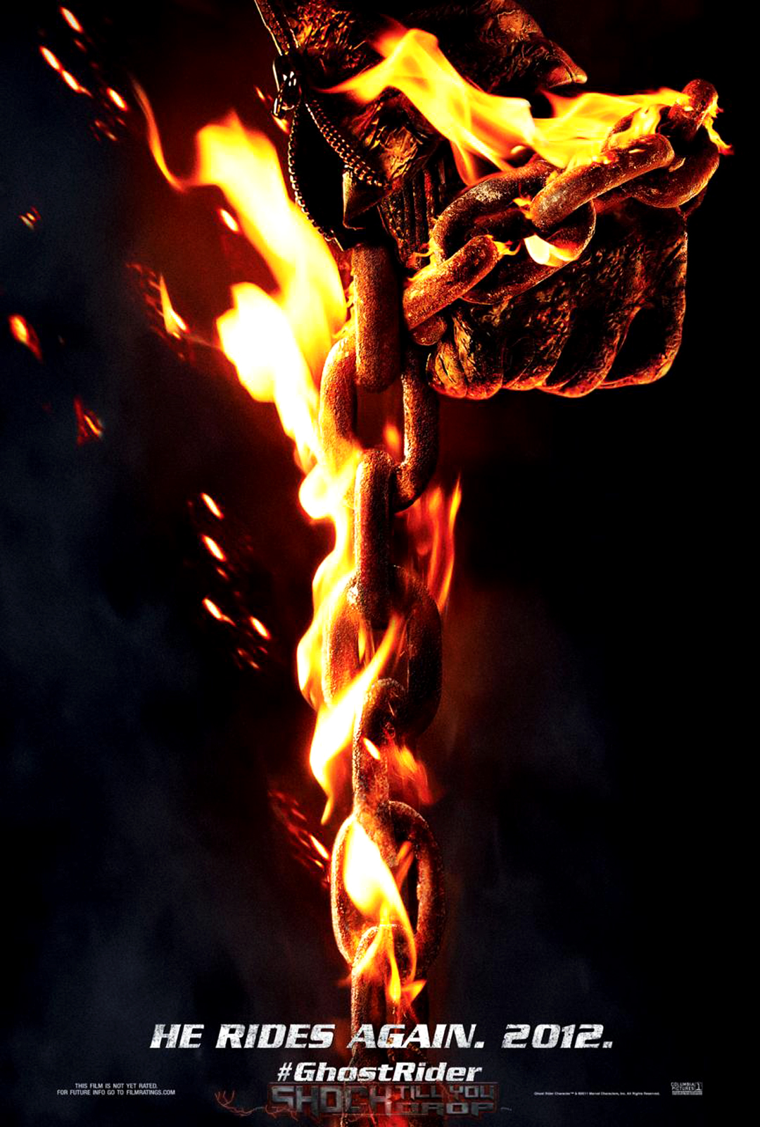 Ghost rider 2 spirit of vengeance 2012 movie poster hand with flaming