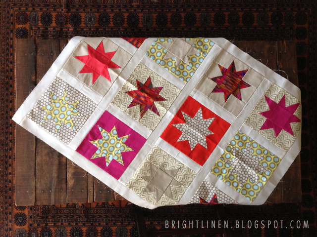 Bright Linen Wonky Star Baby Quilt Top