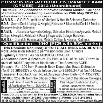 Yurveda Jobs Mon Pre Medical Entrance Exam For Admission Bams