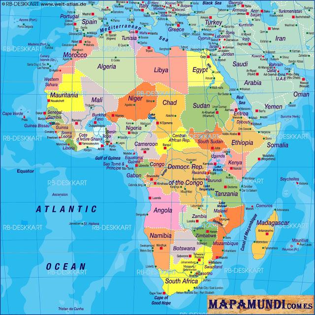 Mapamundi Mapa de Africa politico