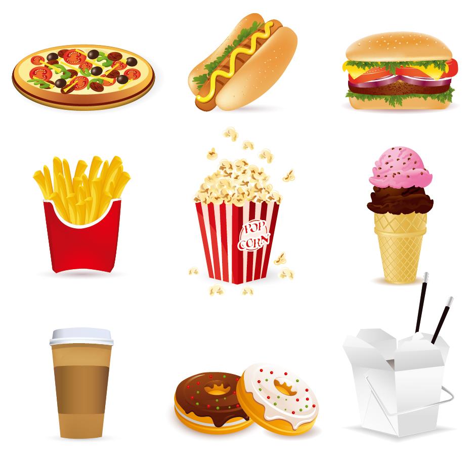 ファーストフードのクリップアート fast food cartoon vector イラスト素材