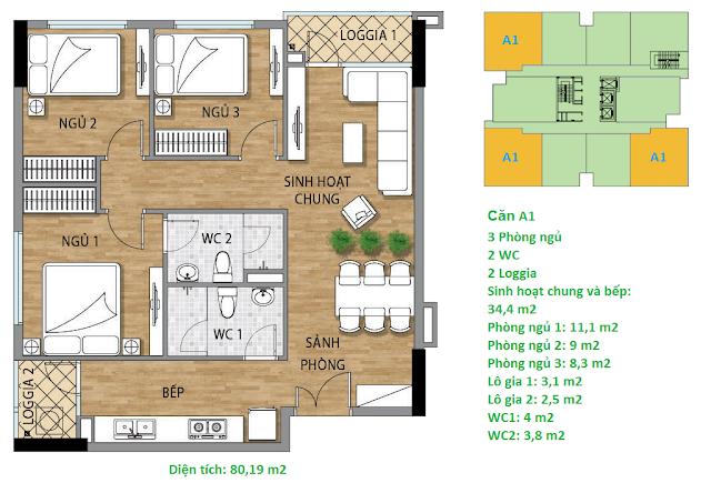 Căn hộ A1 diện tích 80,19 m2 tầng 3 Valencia Garden