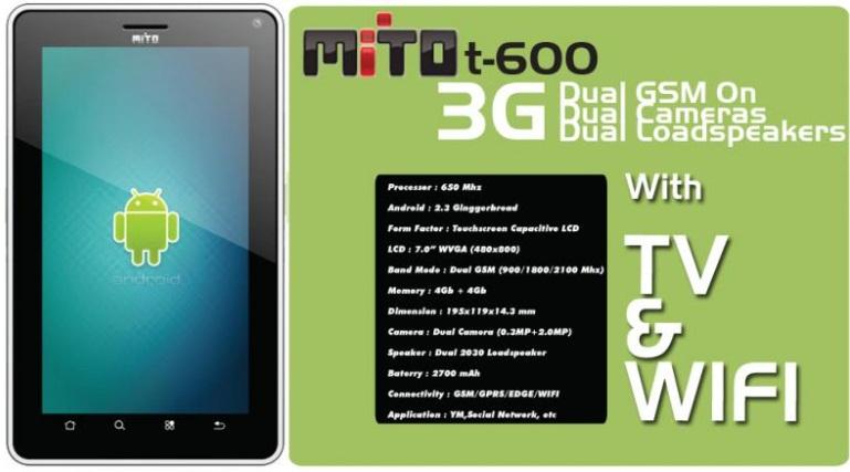Spesifikasi Mito T600 :
