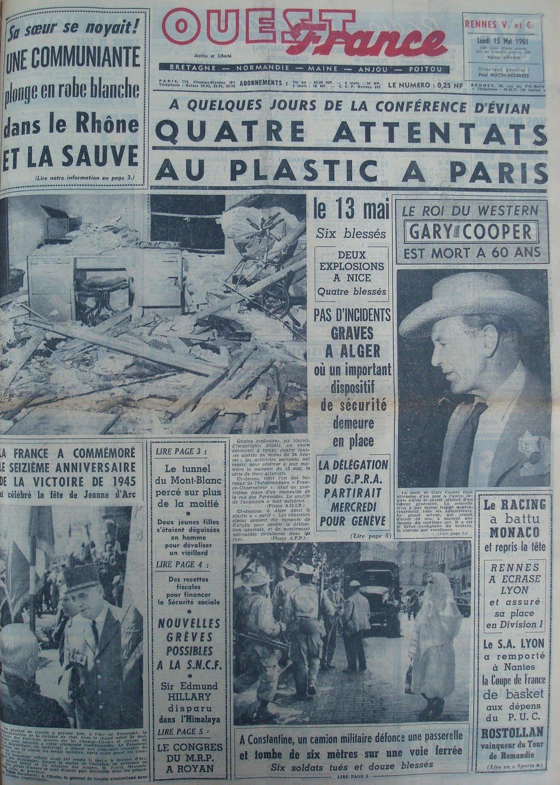 Gary cooper le gentleman de l 39 ouest journal de la mort de gary cooper 15 17 mai 1961 - Ouest france le journal gratuit ...