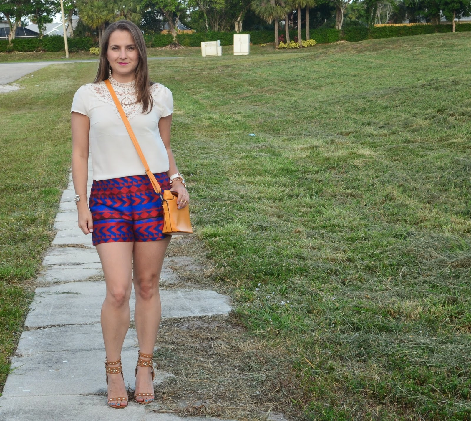 Abstract shorts - crochet collar - Emma & Sophia - Studded sandals