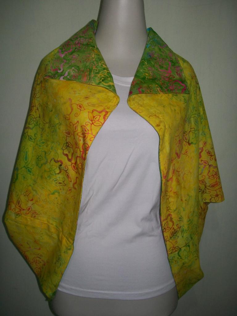 cardigan bolero batik murah warna hijau dan kuning bolak