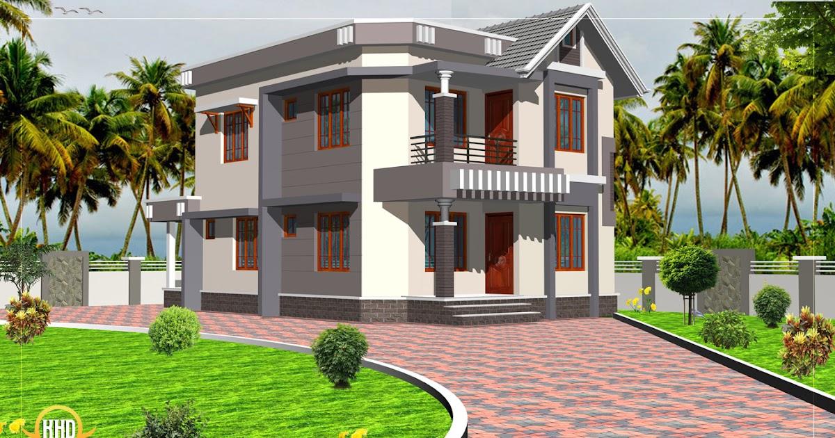 Duplex house elevation 1592 sq ft kerala home design for Terrace elevation designs