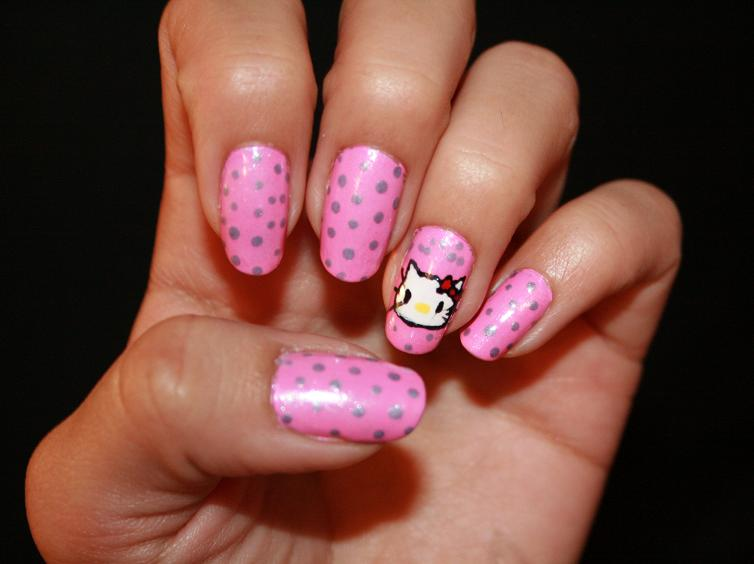 The Charming Hello kitty nails for kids Photo