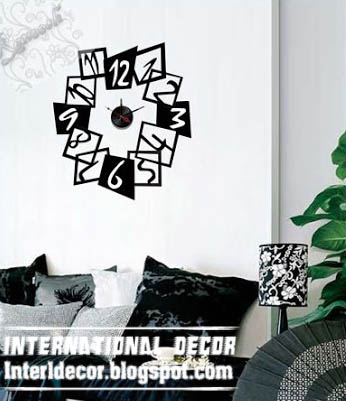 modern clocks for living room. modern wall decal clock for living room  black Interior Design 2014 Modern shapes