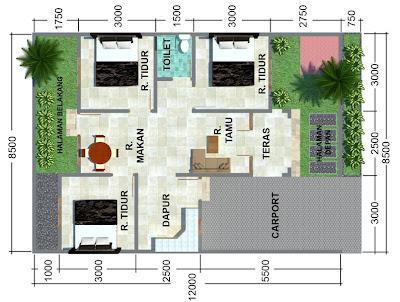 Detail Gambar Denah Rumah Minimalis Sederhana 3 Kamar Tidur