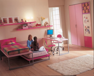 Interior child's bedroom pink color harmonization, Image
