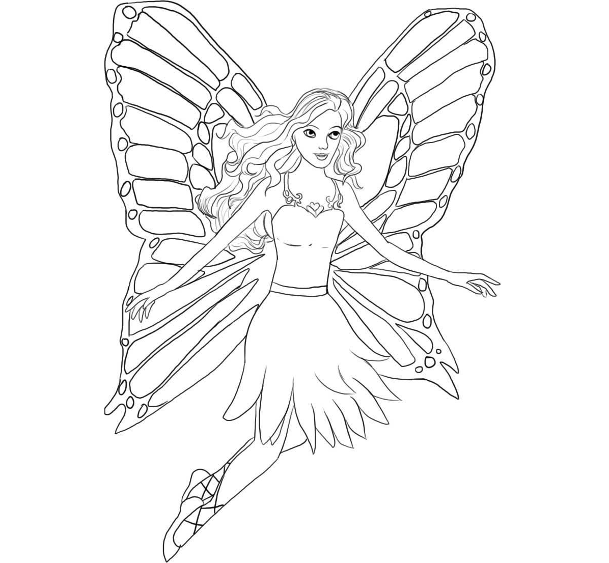Barbie Fairy For Kid Coloring Drawing Free wallpaper ...