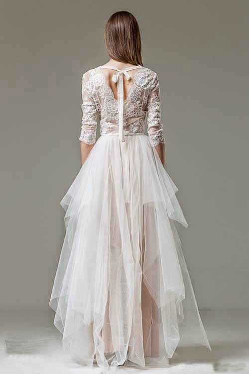 Wedding dresses ideas with ribbon at the waist by Shehurina