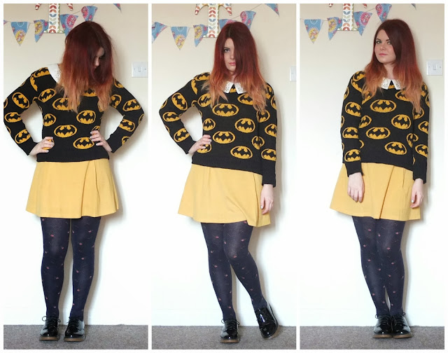 UK fashion blog. Featuring Batman jumper, fossil watch, Primark shoes and mustard yellow peter pan collar dress.