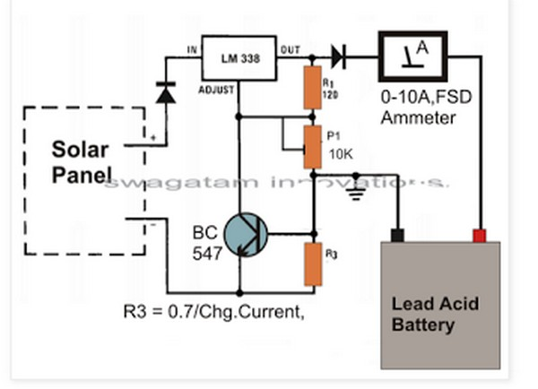 Circuit Schematic Simple Solar Battery Charger Using Lm338