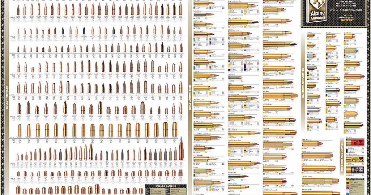 AMMUNITION REFERENCE POSTER