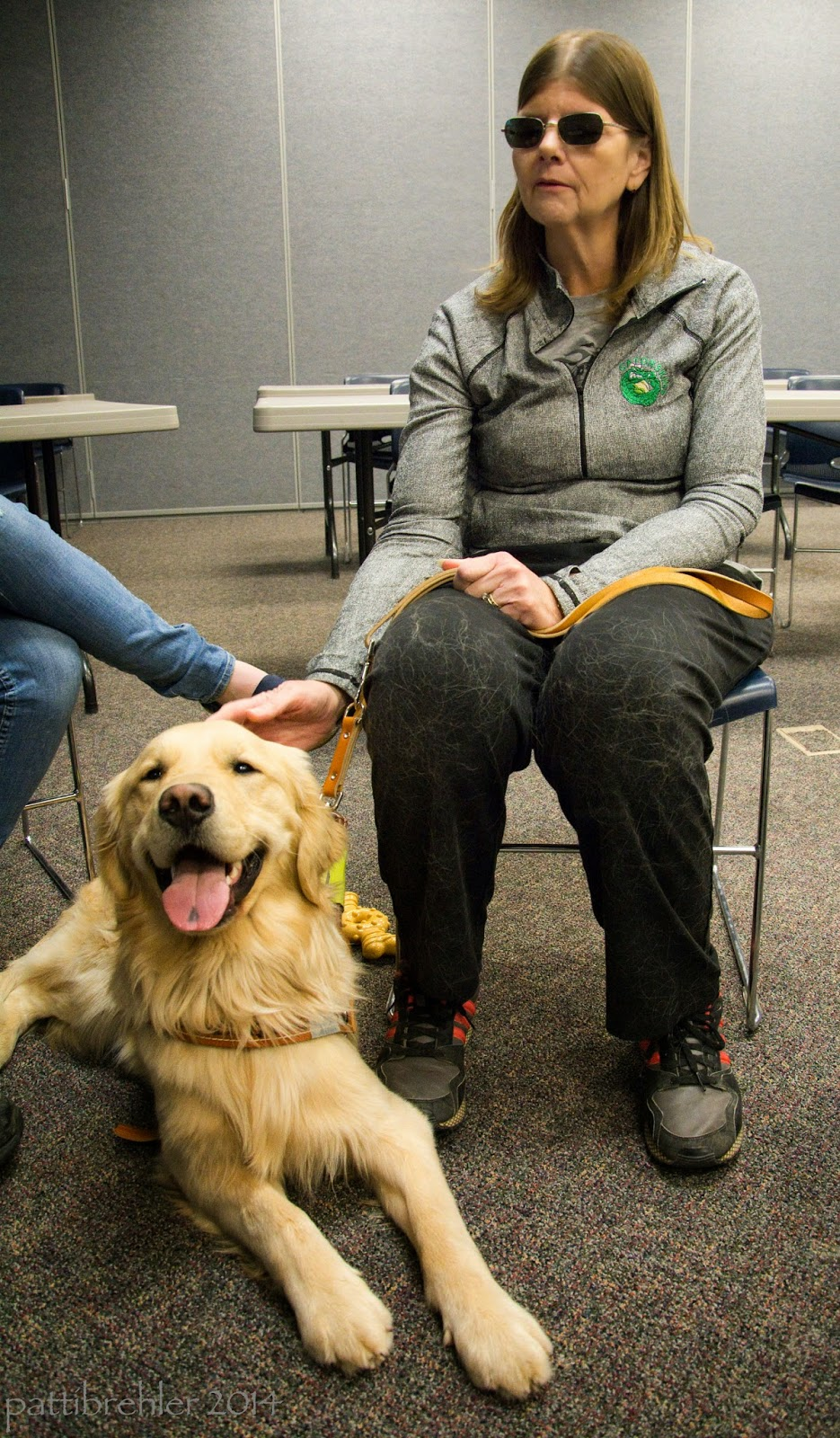 A woman wearing sunglasses is sitting on a chair facing the camera. She is wearing a gray long sleeved shirt and black pants (covered with golden retriever hair!). She is hold a leash in her left hand and touching the head of a golden retriever with her right hand. The golden is lying on the floor at her feet just to her right. He is wearing a Leader Dogs guidng harness and is looking at the camera with his tongue out and a big smile.