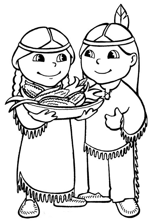 pilgrim indian coloring pages - native american indian coloring pages
