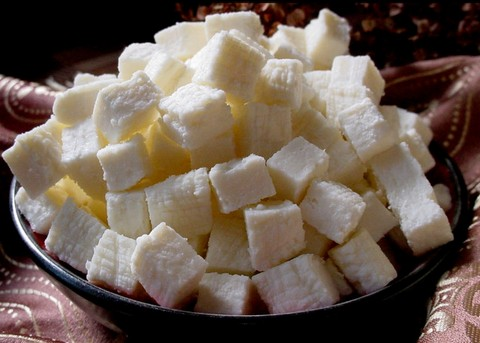 Homemade cottage cheese cubes
