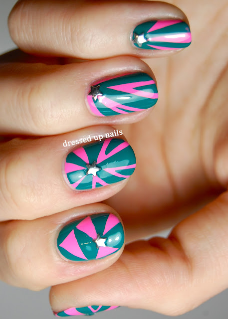Dressed Up Nails - freehand geometric studded nail art with Color Club Flamingo and Wild Cactus