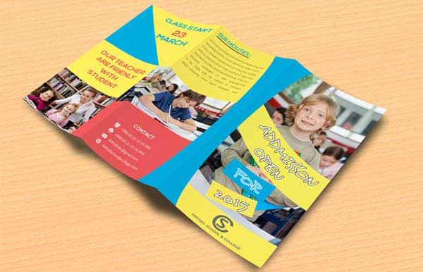 This Is A Trifold Brochure Template For Primary Schools And Prospective  Students.