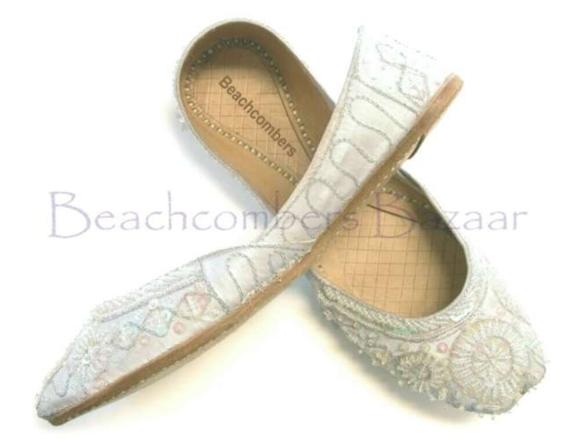 white bridal khussa shoes
