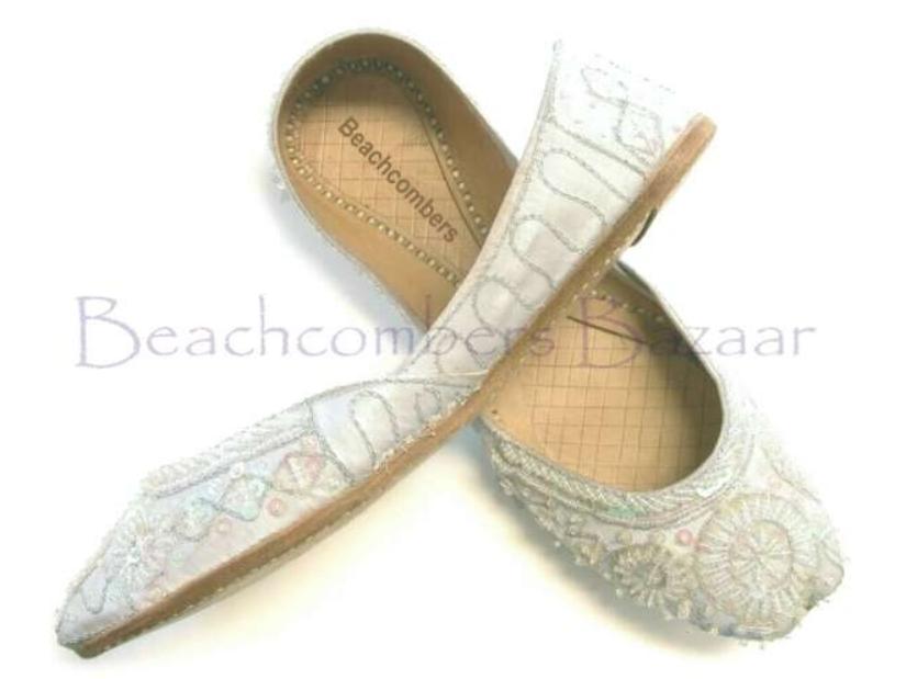 white bridal khussa shoes