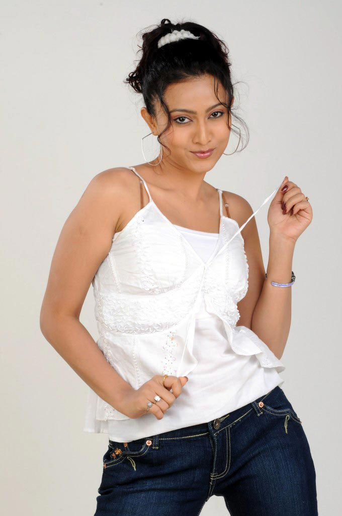 Aakarsha in White Shirt and Blue Jeans