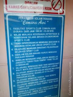 Kolam Renang Cemara Asri Medan (aturan)