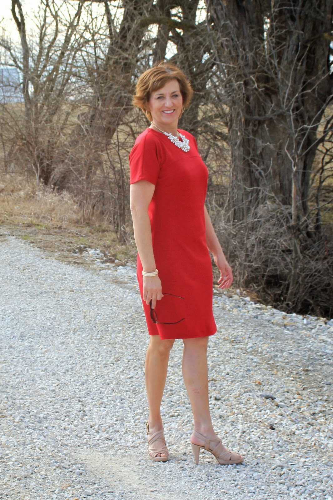 Red ponte knit for cute summer dress using Vogue 8805