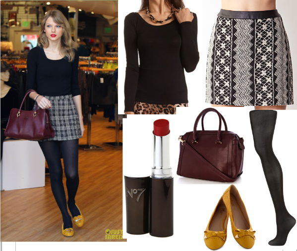 Taylor Swift Mini Skirt/Honey Flats Outfit - Copycat Queen V - celebrity fashion