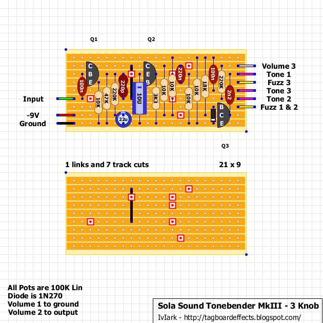 Guitar FX Layouts: Sola Sound Tone Bender MkIII - 3 on pro co rat, ibanez tube screamer, boss ds-1 schematic, ross compressor schematic, overdrive schematic, guitar pedalboard, marshall shredmaster, fuzz schematic, univox super-fuzz, phaser schematic, guitar schematic, shin-ei companion fy-2,