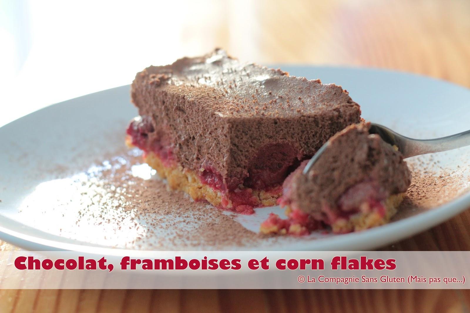 dessert chocolat framboises et corn flakes sans gluten sans lait la compagnie sans gluten