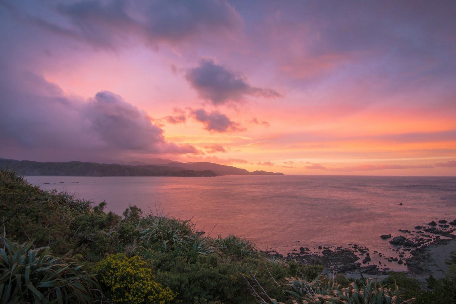 Sunrise and pink skies Wellington south coast
