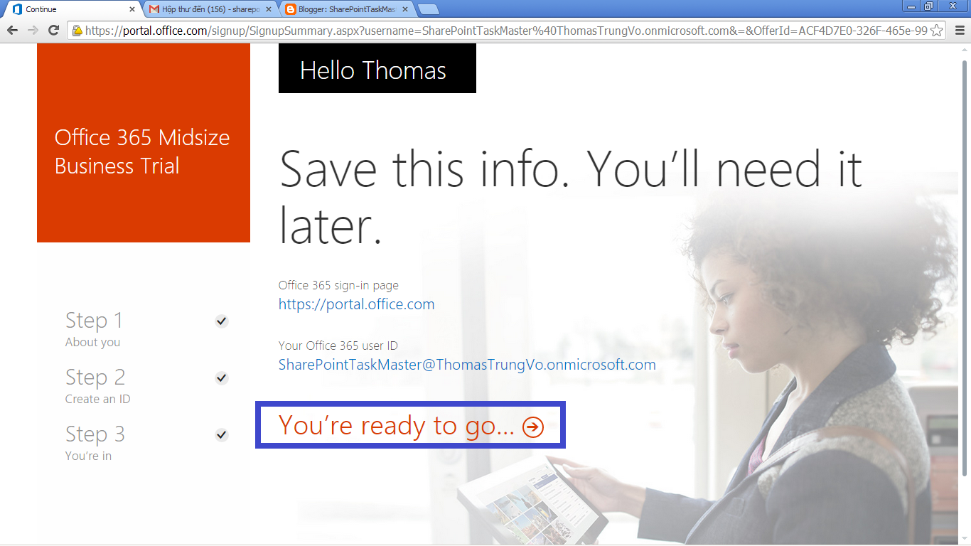 Office 365 and SharePoint 2013 online register and configuration ...