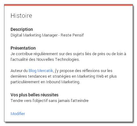 Section Histoire d'un profil Google+