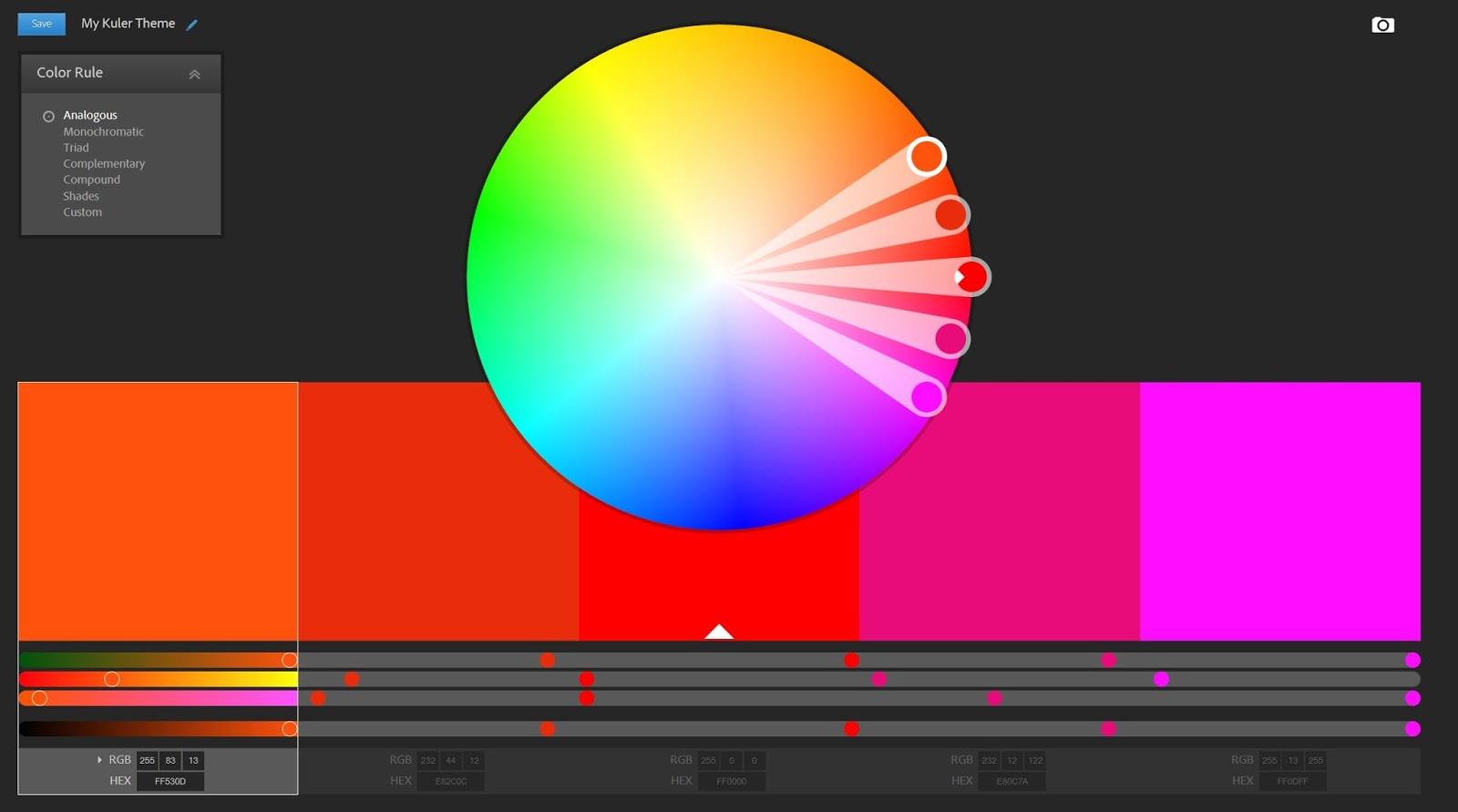 Interface de Adobe Kuler