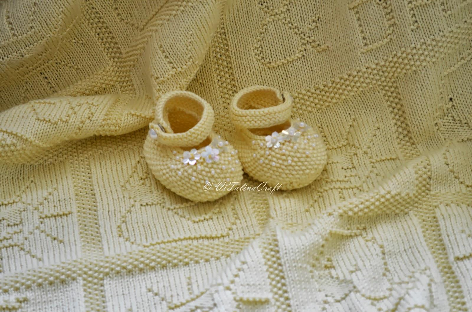 Yellow Pearl Baby Booties Knitting Pattern | ViTalina Craft