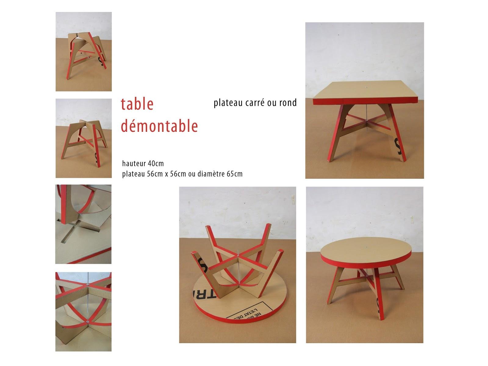 table basse en carton démontable. fabriquée à marseille par juliadesgn