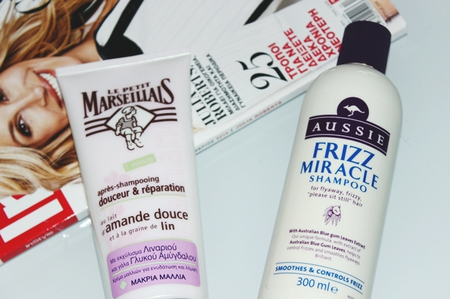 "Le Petit Marseillais ""Conditioner with almond milk & linseed"".Aussie ""Frizz Miracle shampoo""."